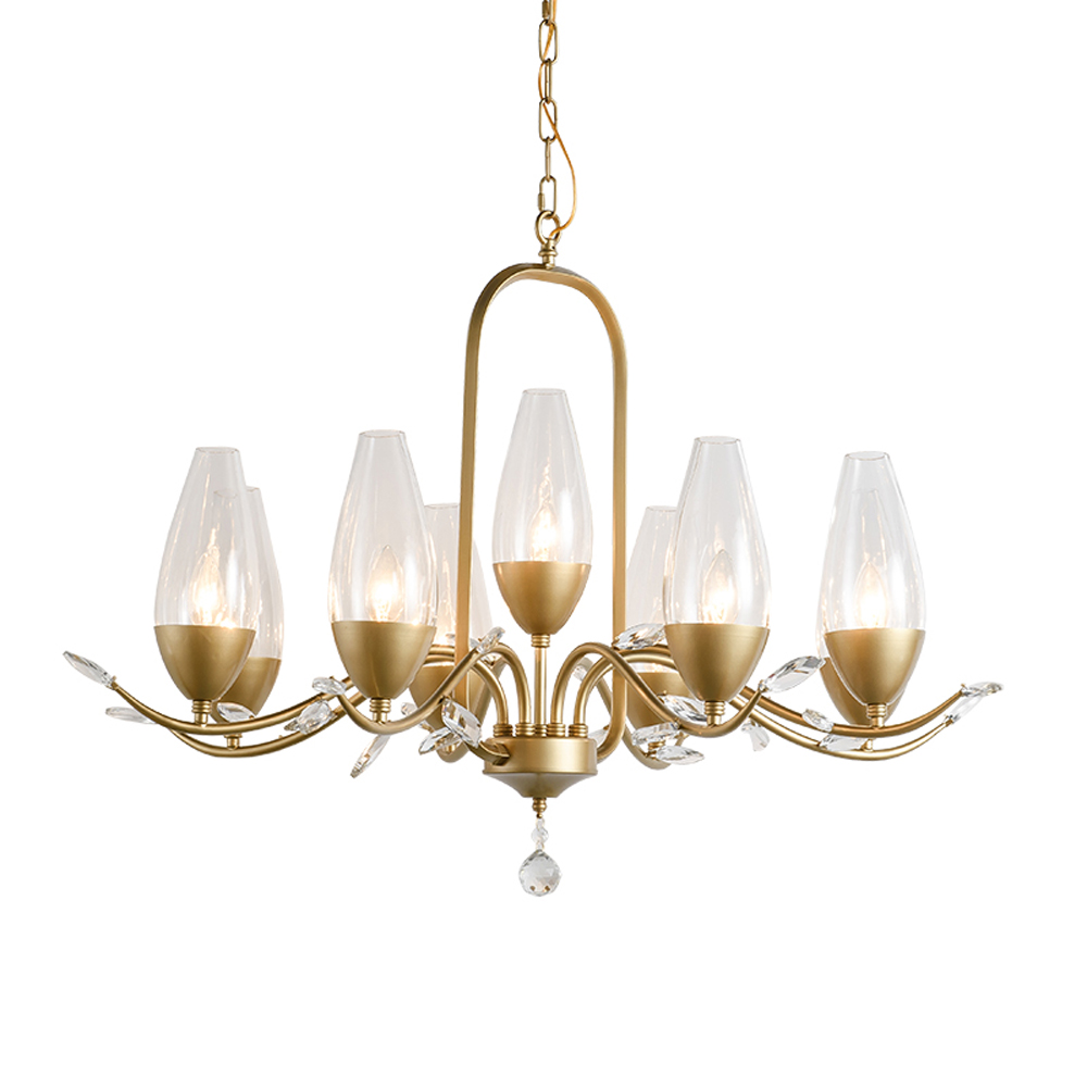 Europen style gold crystal chandelier home lighting AC110V 220v glass dinning room hall way light fixtures