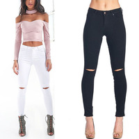KL880 Women skinny jeans new fashion black white pencil pants denim stretch knee hole high waist jeans femme