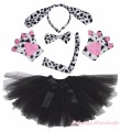 Halloween Party Dalmatian Dog Kid Headband Ear Paw Tail Bow Gauze Skirt Costume