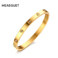 Meaeguet Rose Gold Color Crystal Bangle For Trendy Women Cuff Bracelet Bangles Stainless Steel Jewelry 6mm