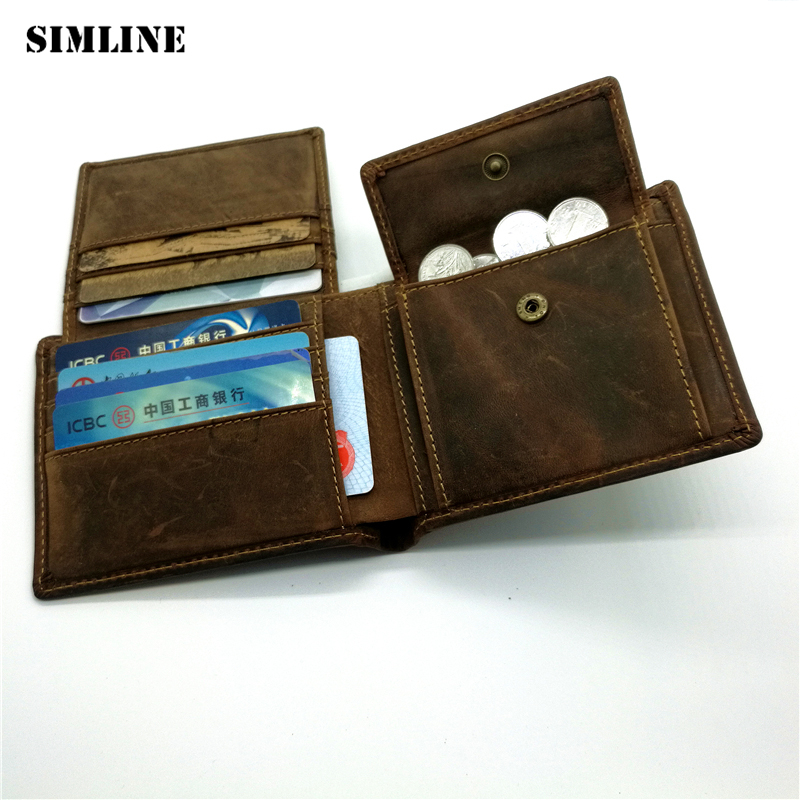 SIMLINE Vintage 100% Real Genuine Leather Crazy Horse Leather Male Short Wallet Wallets Purse With Coin Pocket Carteira For Men simline vintage genuine cow leather men men s short wallet wallets purse card holder with zipper bag coin pocket male carteira
