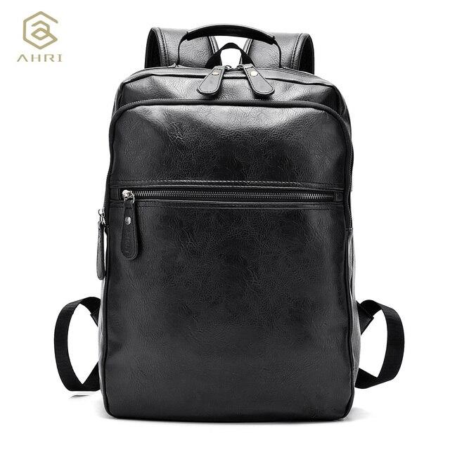 a667771e0701 AHRI Men Business Casual Backpacks for School Travel Bag Black PU Leather  Men s Fashion Shoulder Bags Vintage Boys Men Backpack • My Blog