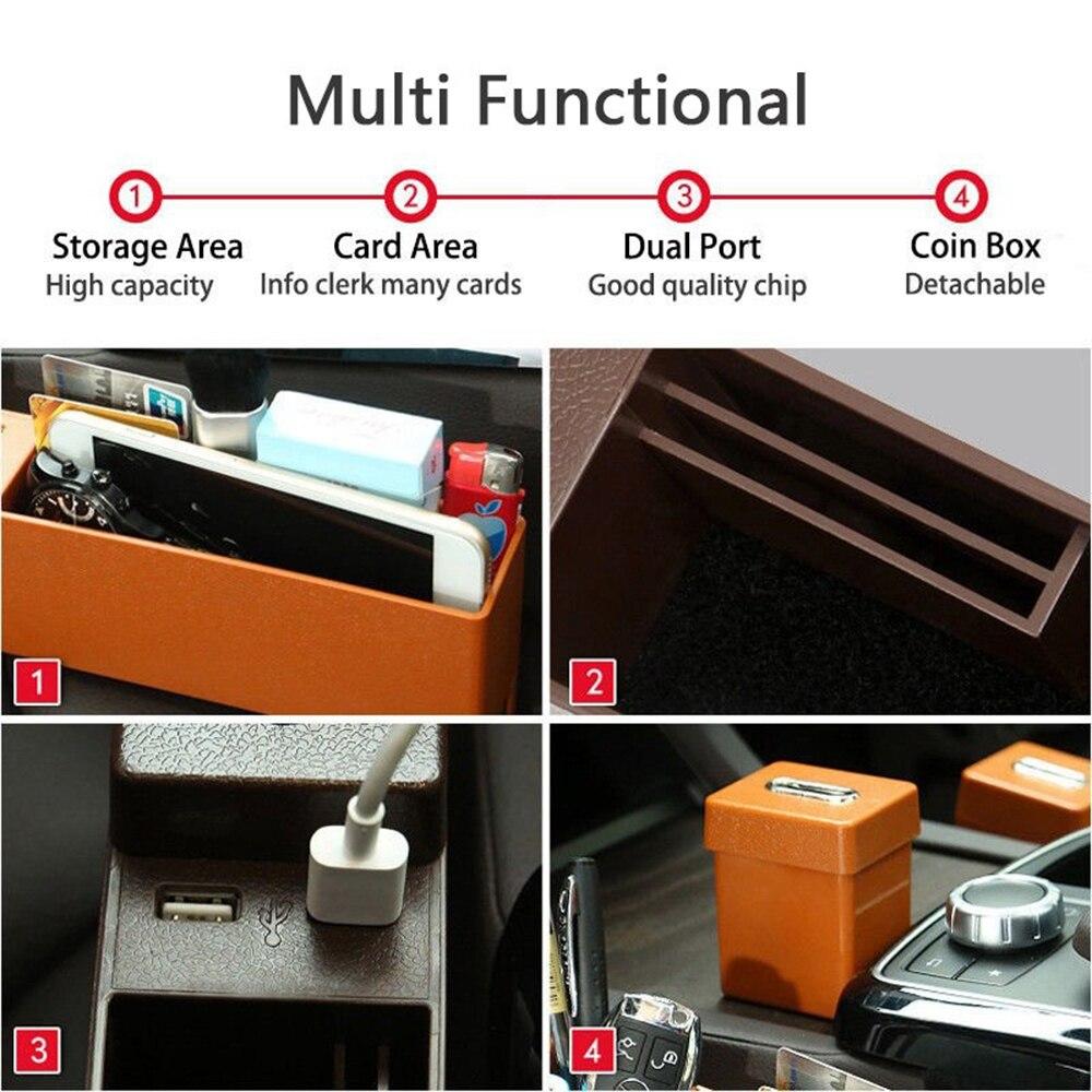 Универсальный ящик для хранения автомобильный подстаканник для сидений двойной перезаряжающийся USB интерьер для дома корзина для организации автомобиля коробка для хранения