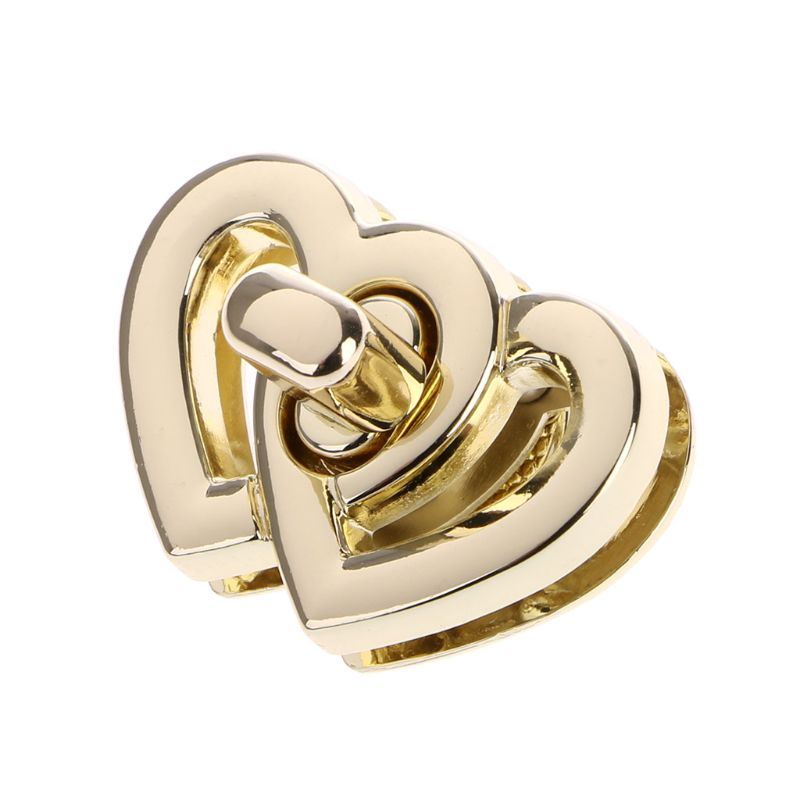 1Set Metal Heart Clasp Buckles Turn Lock Twist Locks For Handbag Bag Purse Craft DIY Handbag Buckles