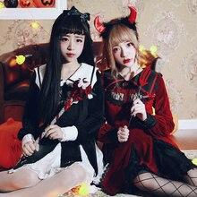 Принцесса сладкий Лолита Хэллоуин платье BOBON21 Вышивка крестом кружева шить Близнецы чертенок Silver fox кашемир D1412