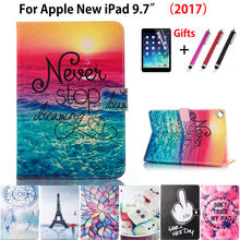 Fashion painted Case Cover For Apple New iPad 9.7 2017 2018 5th 6th Generation Funda cases A1822 A1954 Stand Shell +Stylus+film