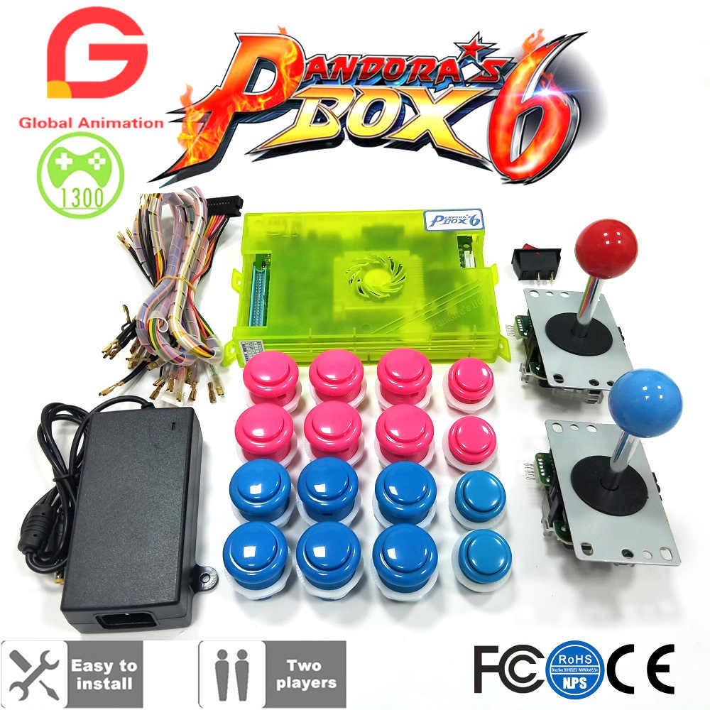 hight resolution of detail feedback questions about diy arcade kit pandora box 6 1300 in 1 game board and long handle joystick built in switch push button for arcade machine on