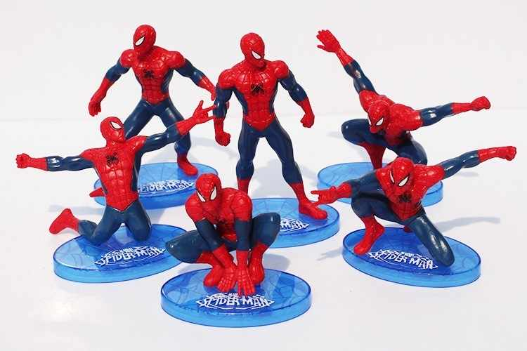 Boy Birthday Cake Topper 7pcs Spider Man PVC Doll Toy Kids Gift Spiderman