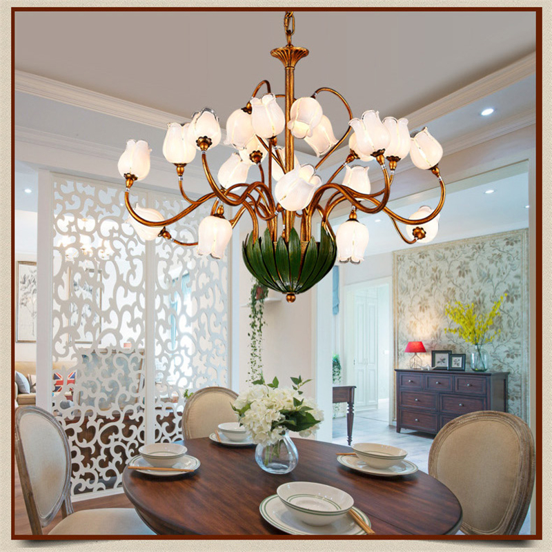 Glass Flowers Green Leaves Chandeliers American Garden Artistic Suspension Lighting Living Room Art Deco Hanging Lamp 21 Lights