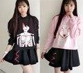 Harajuku Sudaderas de Dibujos Animados Negro Rosa Mujeres Otoño Camisa de Lana de Algodón Femenino Lindo Personaje de Dibujos Animados Con Capucha Streetwear