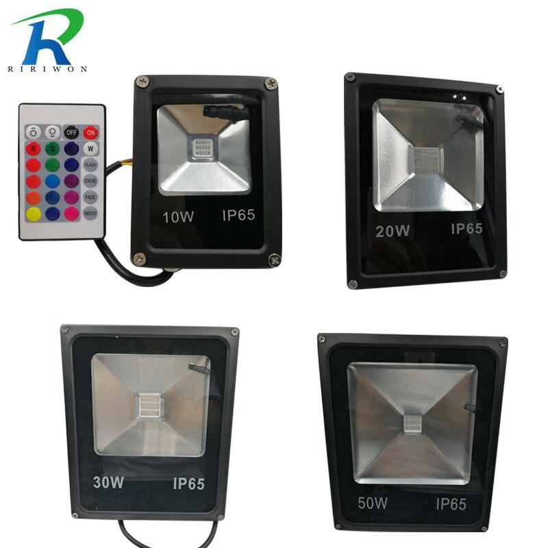 RiRi won LED RGB Floodlight 10W 30W 50W Waterproof Led Spotlight Outdoor Lighting Landscape Lighting Led Flood Light for Outside