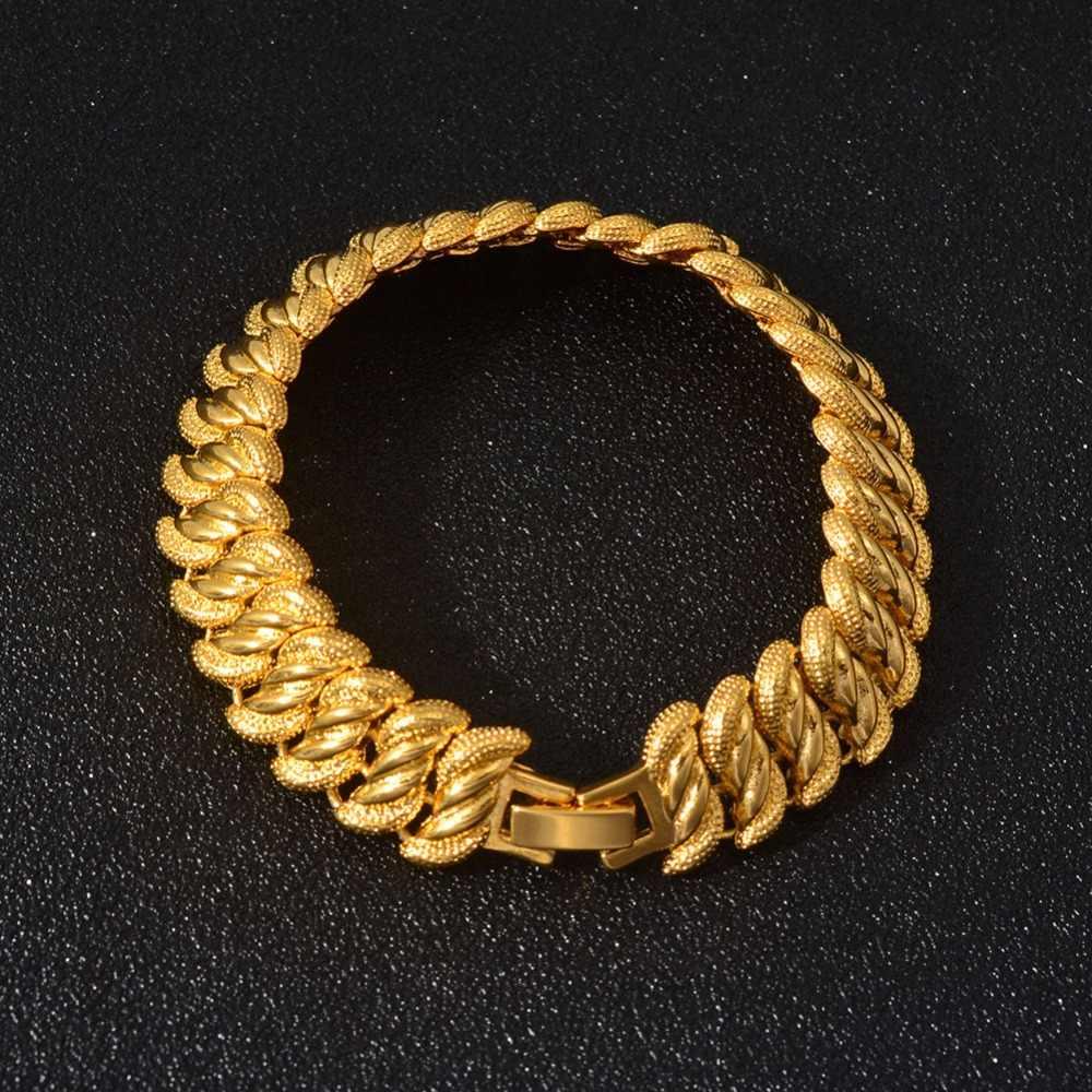 Anniyo 24K złoty kolor bransoletki męskie typu bangle dubaj bransoletki ślub panny młodej kobiety biżuteria etiopii Arabian afryki łańcuch ręczny #013407