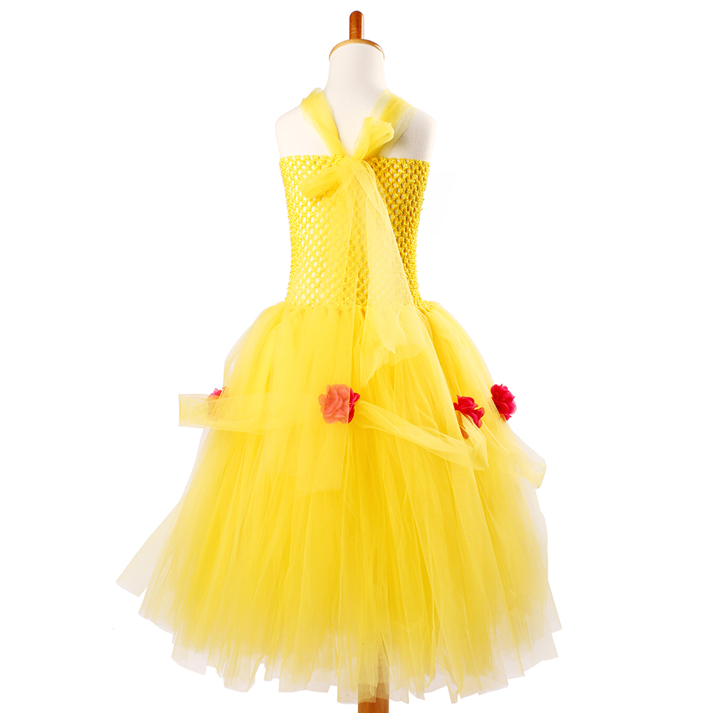Yellow Princess Belle Tutu Dress The Beauty and the Beast Inspired Girls Birthday Party Dress Kids Photo Cosplay Costumes Vestidos (3)