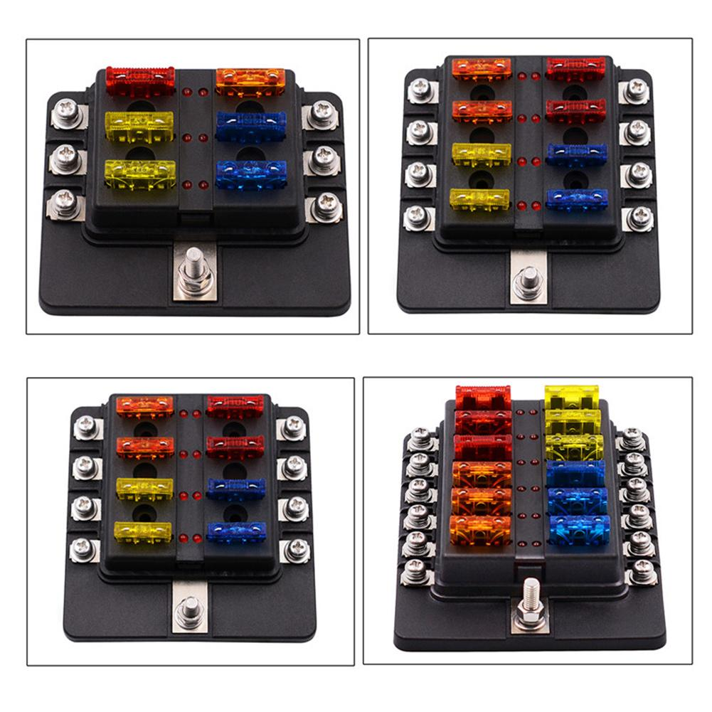 Car Screw Binding Post Model 12 Ways Fuse Box With LED Indicator Light Vehicle Truck Fuses Car Accessories