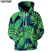 YOUTHUP 2018 Hoodies Men Green Leaf Print 3d Women Hooded Sweatshirts Harajuku 3D Pullover Eye Protection Coat Plus Size