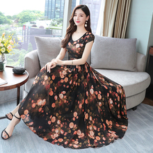 Elegant Chiffon Dress Women Summer Short Sleeve Floral Print Boho Dress Slim Beach Party Dresses Vestidos Plus Size 3XL 2019 plus size party dresses women summer long maxi dress casual slim elegant dress bodycon female beach dresses for women 3xl