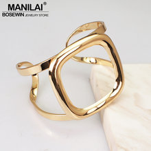 MANILAI Alloy Hollow Out Contracted Style Bracelets For Women Statement Femme Metal Cuff Bangle Accessories Jewelry(China)