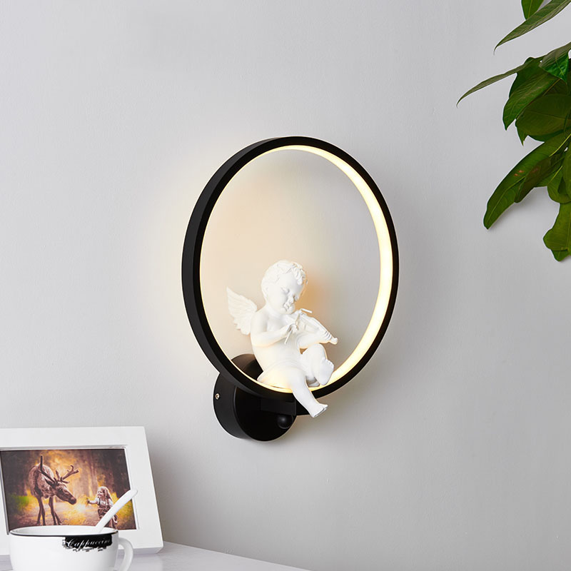 Creative Led Wall Lamp Nordic Angel Led Light Decoration Of Bedroom Luminaire Violin Hanging Light Sitting Room Corridor Lantern