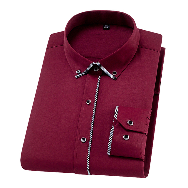 Formal Men Shirts Long Sleeve Fashion Solid Twill Business Causal | online brands