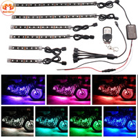 6X LED Strips Motorcycle Car Styling Air Atmosphere Interior Light RGB 16 Color Ambient Infrared Remote