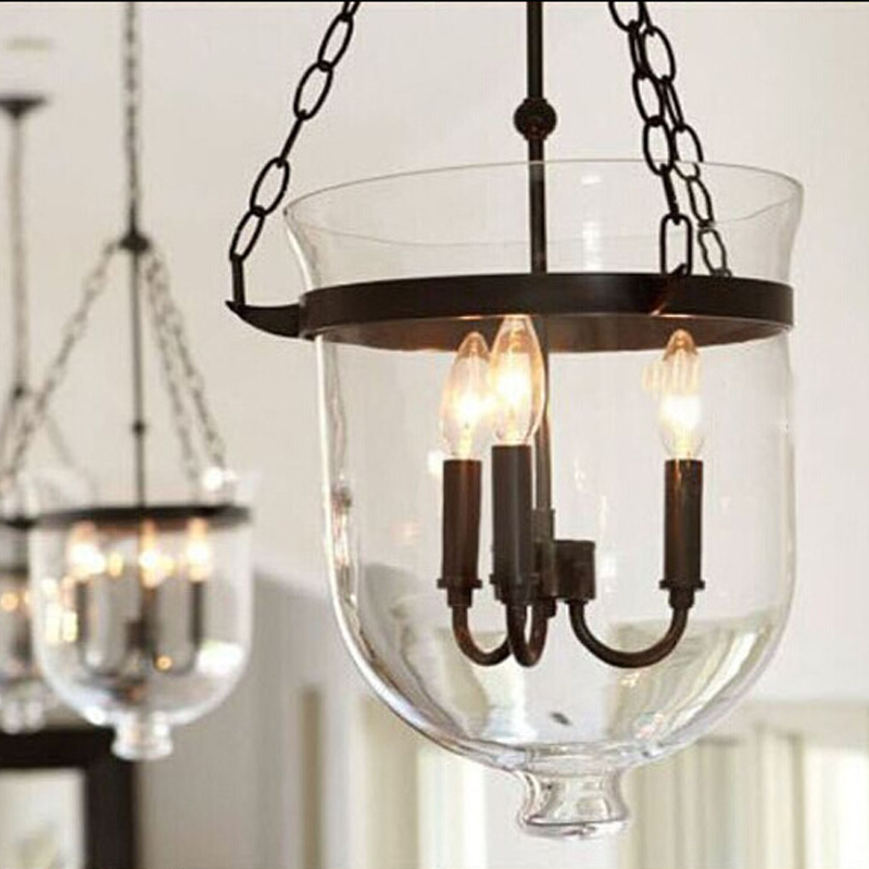 3 Country Style Pendant Vanity Light Fixture: Bell Jar Pendant Light