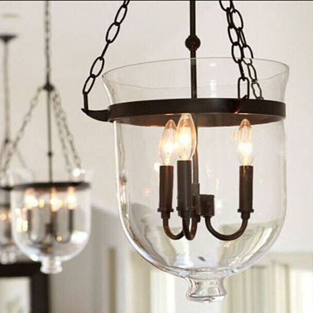 online shop retro rustic clear glass 3 candle lights bell jar