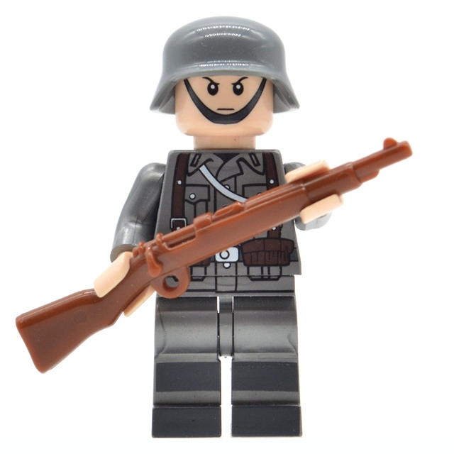 6PCS WW2 Military Soldiers France US Britain Army Weapon For Minifigures
