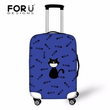 FORUDESIGNS Cartoon Travel Luggage Protective Cover Black Cat Case Cover Dustproof Protect Trolley Suitcase Cover for 18-30 Inch недорого
