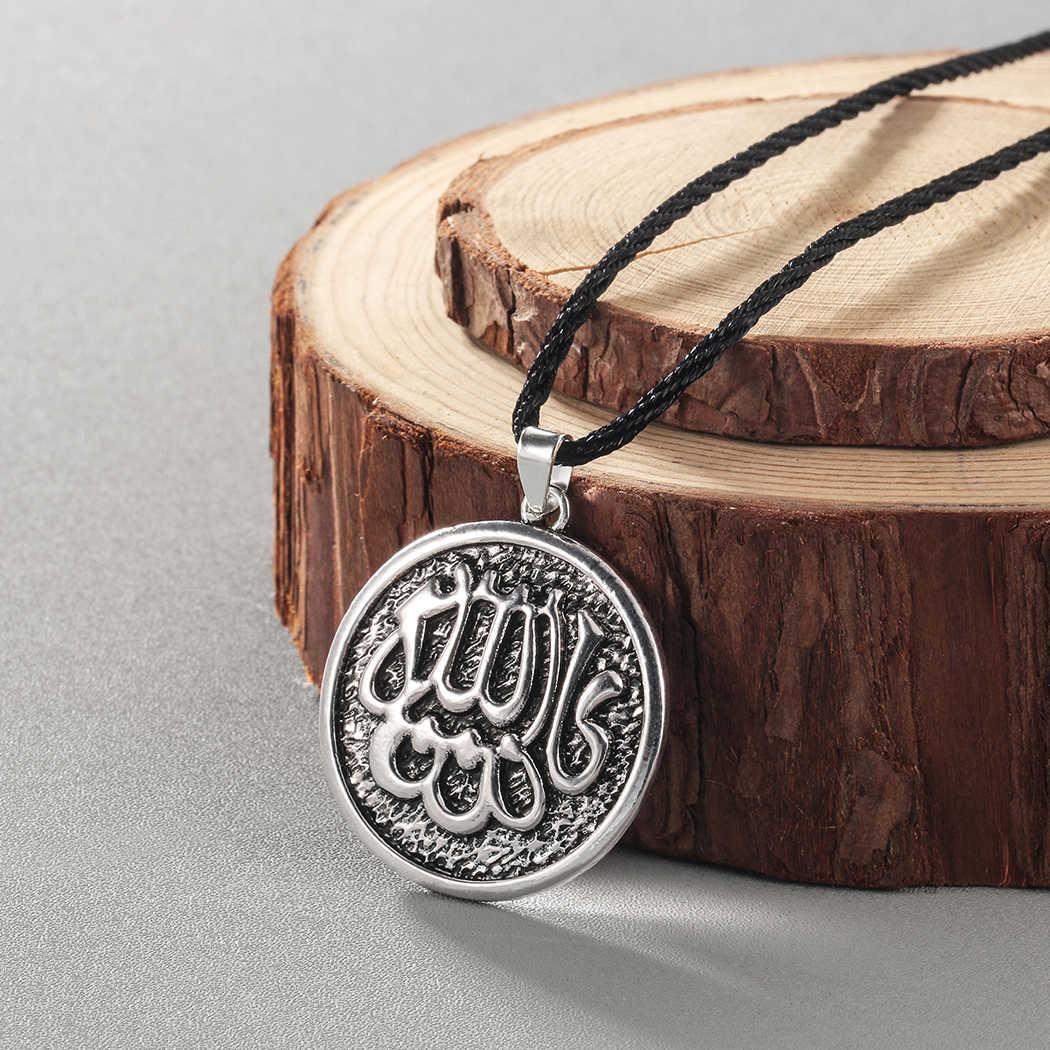 Kinitial brąz srebrny kolor muzułmanin Islam naszyjniki dla kobiet mężczyzn liny łańcuchy wygrawerować muzułmanin Allah naszyjniki i wisiorki biżuteria
