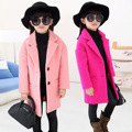Children Autumn and Winter Wool Coat Girls Wind Child Woolen Overcoat Thickening Kids Clothing Rose Red Pink