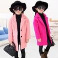 Children Autumn and Winter Wool Coat Girls Wind Child Woolen Overcoat Thickening Kids Clothing Rose Red Pink