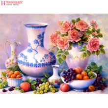 5d diy diamond painting fruit still life home decorative diamond embroidery painting drill strass mosaic gift flowers The vase