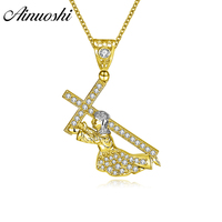 AINUOSHI 14K Solid Yellow&White Gold Pendant Saint Peter Holding Cross SONA Diamond Christian Jewelry Shining Separate Pendant