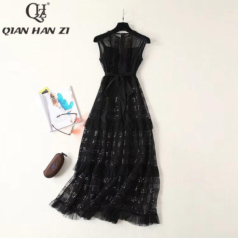 Qlan Han Zi 2019 nuevo verano diseñador pasarela Maxi vestido sin mangas de las mujeres de encaje con lentejuelas Retro negro vestido largo - 2