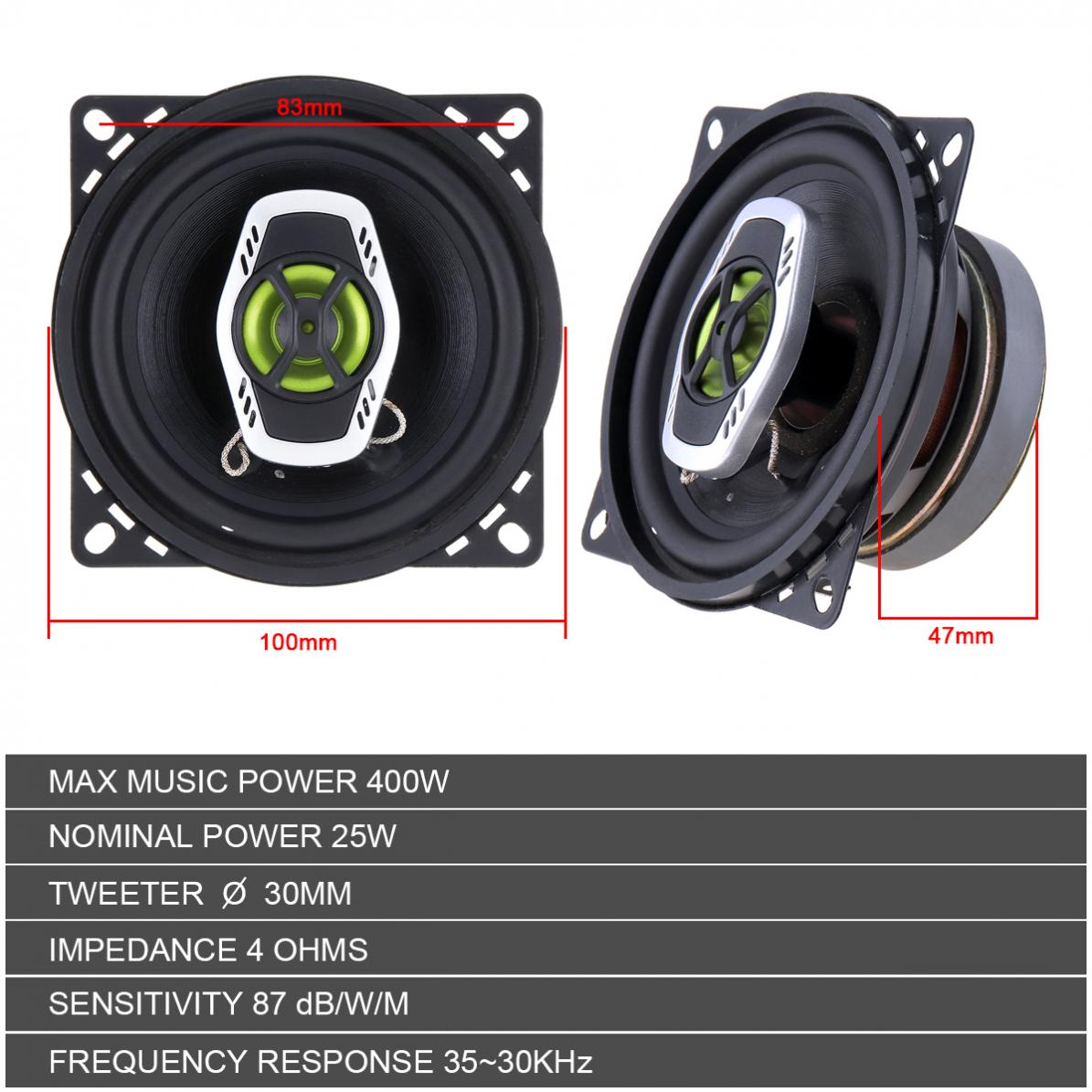 2pcs 4 Inch 10cm 400W 2 Way Car Coaxial Auto Audio Music Stereo Full Range Frequency Hifi Speakers Non destructive Installation in Coaxial speakers from Automobiles Motorcycles