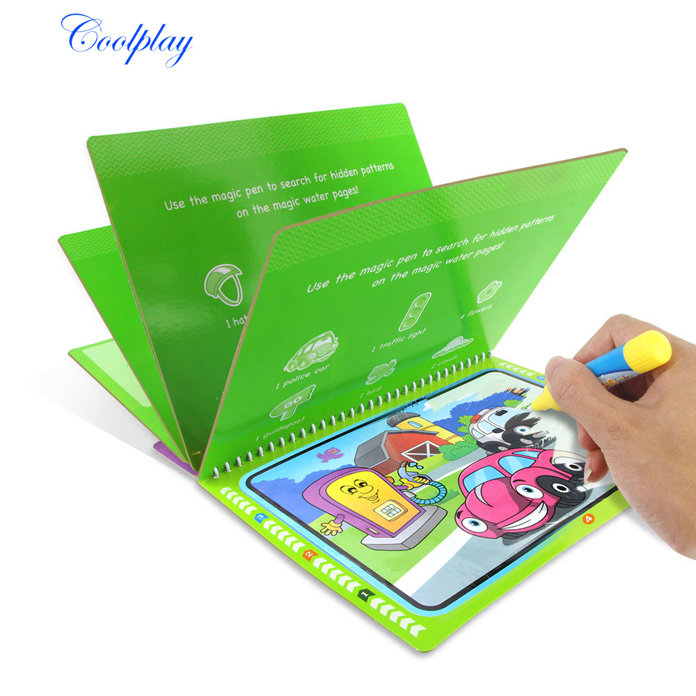 COOLPLAY Magic Water Drawing Book Coloring Book Doodle & Magic Pen Painting Drawing Board For Kids Toys Birthday Gift {