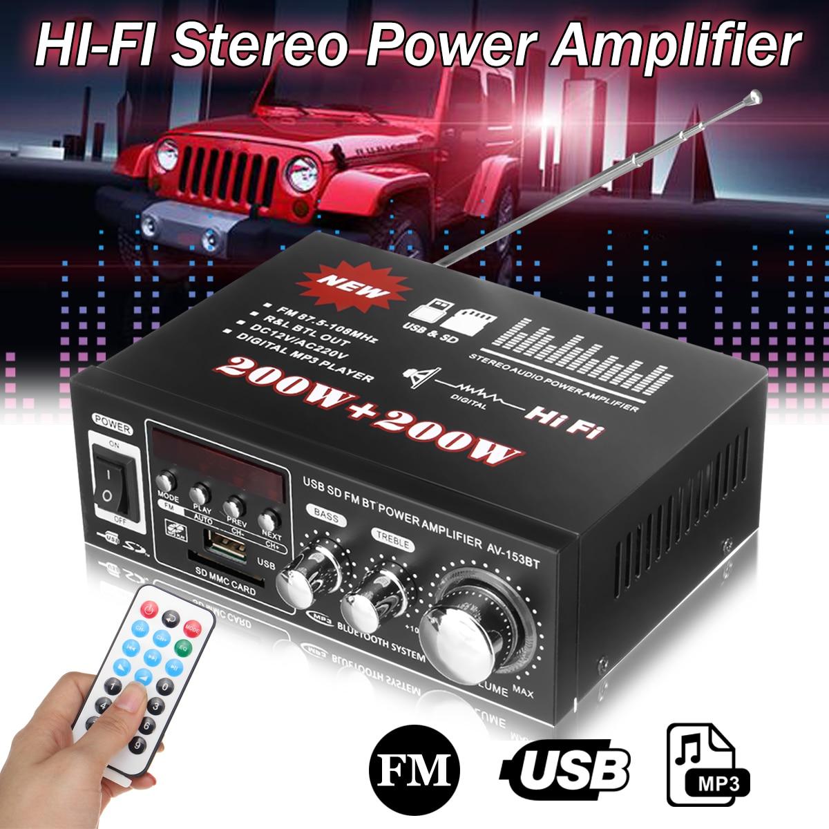 220 W 400 V 12 V automotriz multifunción Bluetooth HiFi amplificador de potencia estéreo USB SD reproductor Digital amplificador de coche + control remoto