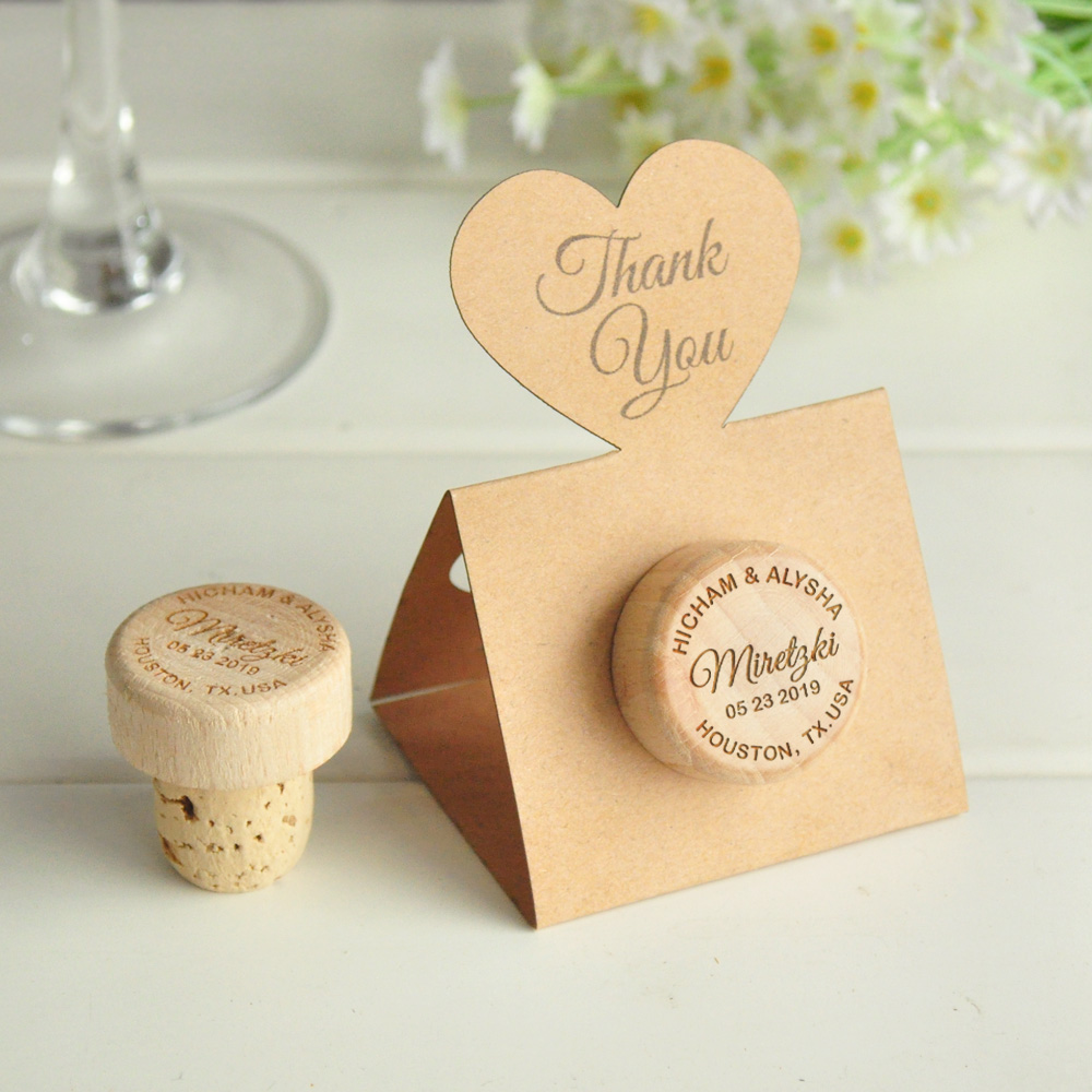 Cork Wedding Memory: Personalized Wine Stoppers Wedding Favors Cork Stoppers
