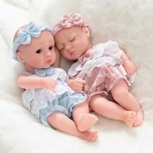Fit 10 Mini 26cm Reborn Doll Girl  Boy Full Silicone Vinyl Cute Twins Dolls Lifelike Reborns for Toddler Bathing