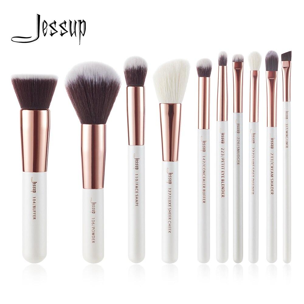 Jessup Brand Pearl White/ Rose Gold Makeup Brushes Set Professional Make Up Brush Tool Kit Foundation Powder Buffer Cheek Shader