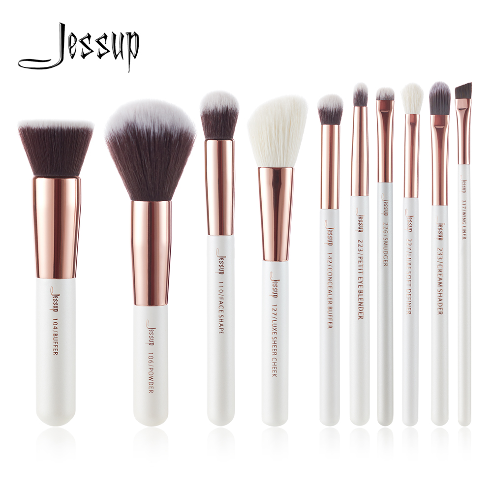 Jessup Marke Perle Weiß/Rose Gold Make-Up Pinsel set professional Make up Pinsel Tool kit Foundation Pulver Puffer Wange shader