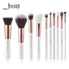 Jessup Merk Parel Wit/Rose Gouden Make Up Kwasten Set Professionele Make Up Brush Tool Kit Foundation Poeder Buffer Wang shader