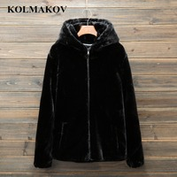 KOLMAKOV Men's Dress 2018 New Winter Mens Fur Parkas L 4XL Fur Ourwear Hooded Parka Homme Top Quality Jackets Snow Coats Men