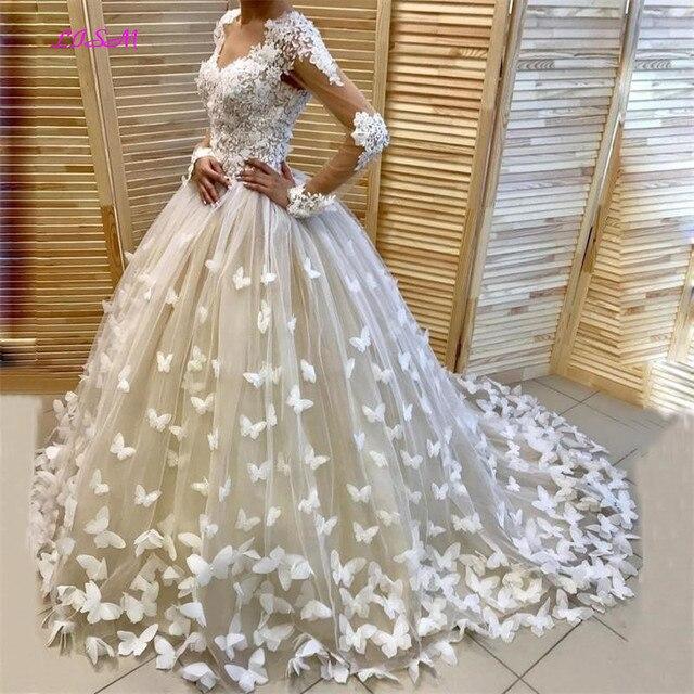 فستان زفاف بفراشات منتفخ وحفلات زفاف في دبي فساتين زفاف مخصصة بأكمام طويلة vestido de noiva robe de mairee