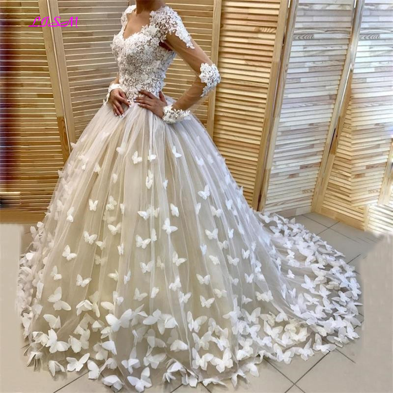 Appliques Butterfly Puffy Ball Gown Bridal Dress Dubai Wedding Dresses Customized Long Sleeves Vestido De Noiva Robe De Mairee