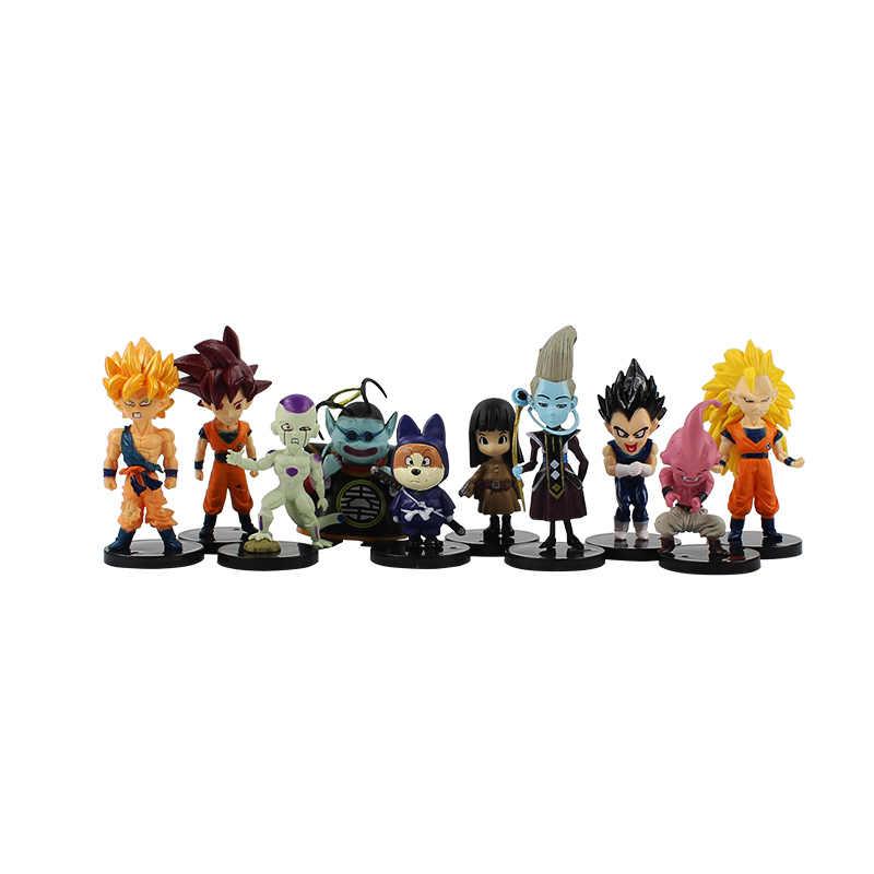 4-9 cm Batalha dos Deuses de Dragon ball Super Saiyan Goku Picollo Gohan Vegeta PVC Figuras de Ação Dragão ball Z Bonecos