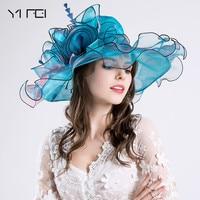 Folding beach sun hat Women summer flower pearl net yarn cap European and American style hat wide brim hat outdoor