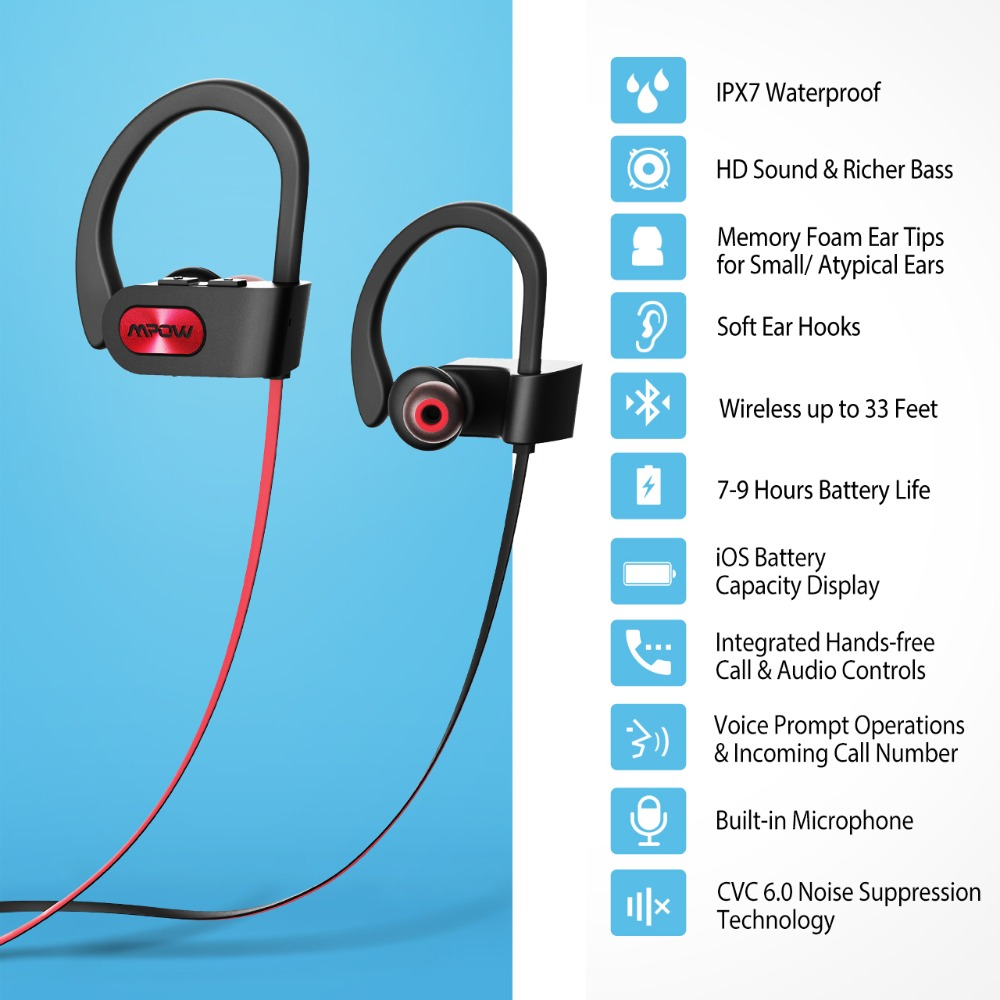 Mpow Flame IPX7 Waterproof Bluetooth 4.1 Headphones Noise Cancelling ...