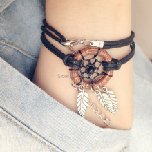 Dream Catcher Bracelet with Alloy Leaf Pendants Handmade Dream catchers Free SHipping