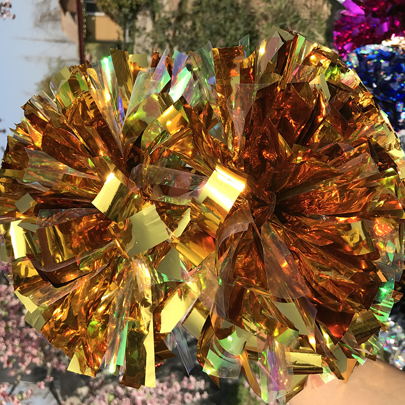 Free Fast Shipping Cheerleader Pom pom Metallic Gold 1,000*3/4* 6 18pieces Fully Game Baton POMS